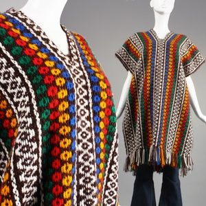 OS Vintage 90s Jamaican Knit Festival Poncho